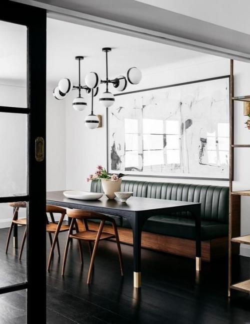 table à manger joli design en noir et blanc