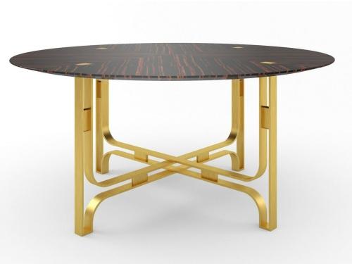 table à manger ronde avec quatre pieds croisés