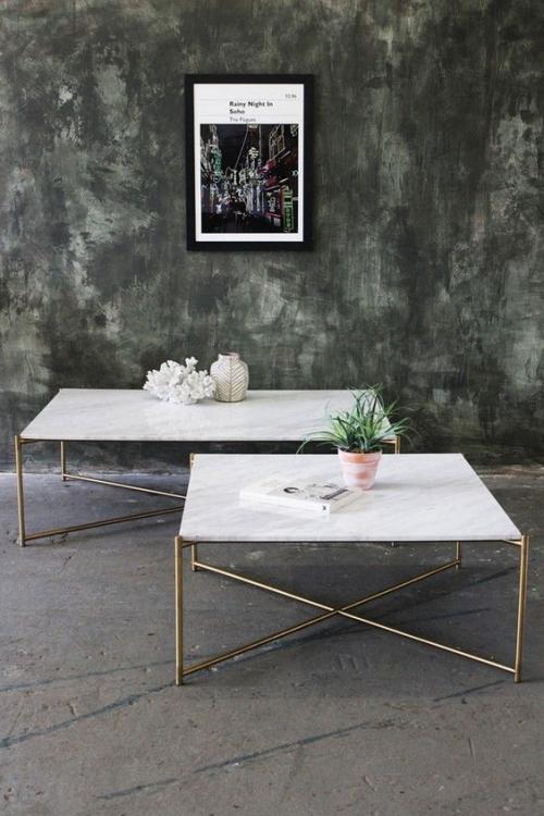 table basse en marbre deux tables en marbre blanc
