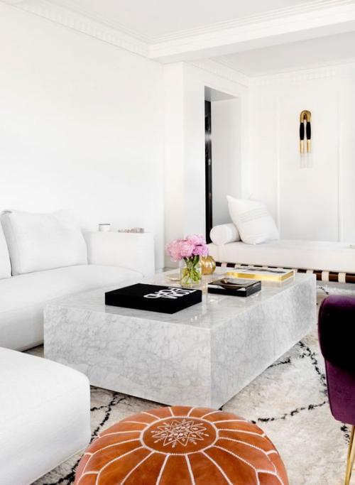 table basse en marbre table rectangulaire en bloc