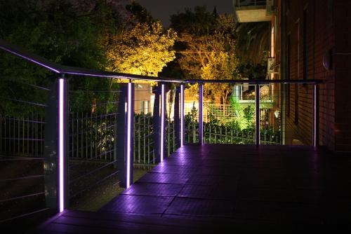 éclairage balcon garde-corps en inox