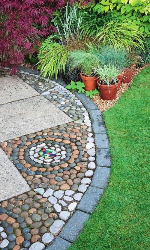 Décoration jardin avec galets gazon bien soigné