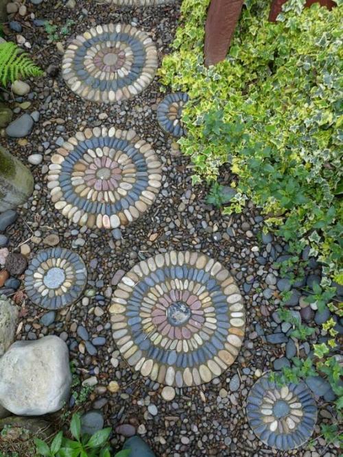 dcoration jardin avec galets grandes pierres comme bordures