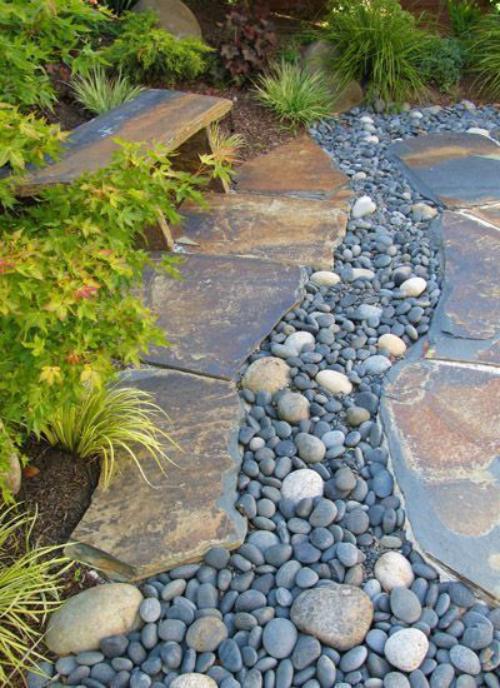 Décoration jardin avec galets petit sentier dans un coin du jardin