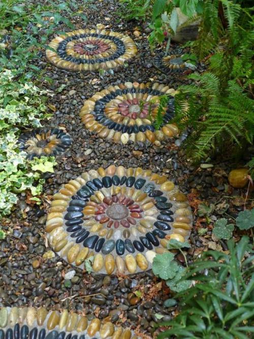 Décoration jardin avec galets sentier de gravier