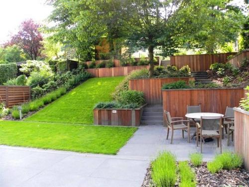 aménagement jardin en pente douce quelques terrasses