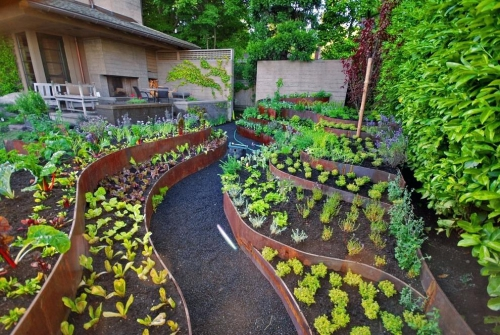 aménagement jardin terrasses et parterres de fleurs
