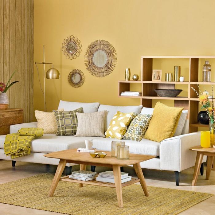 aménagement salon moderne jaune gen-z