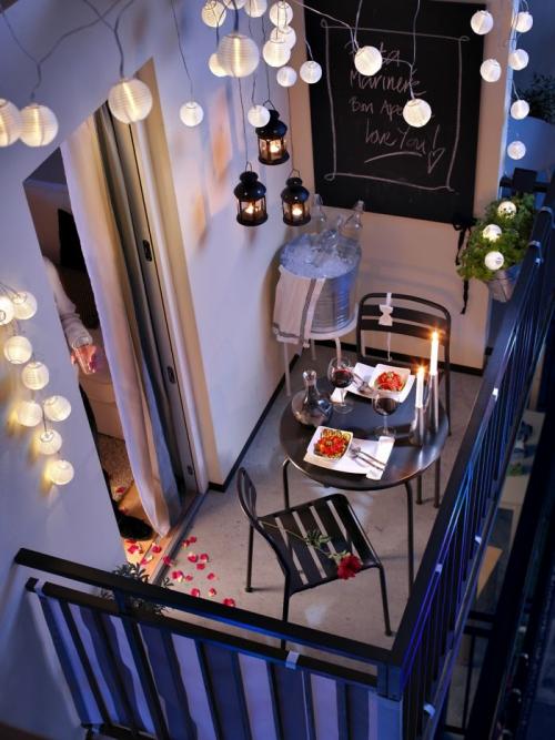 astuce déco balcon petite terrasse illuminée
