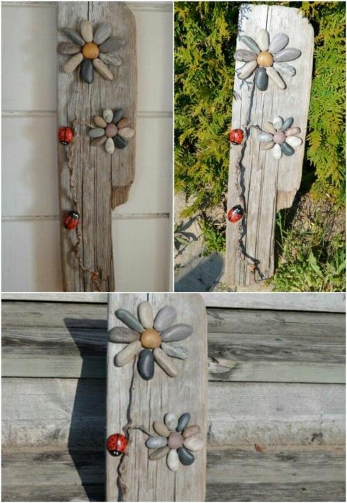 bricolage avec des galets et planches de bois