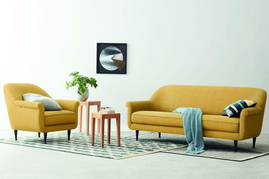 canapé et fauteuil design en jaune gen-z