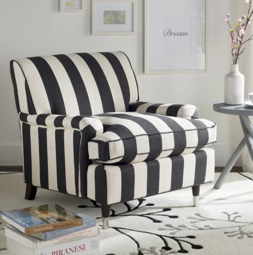 chaise cosy fauteuil en rayures
