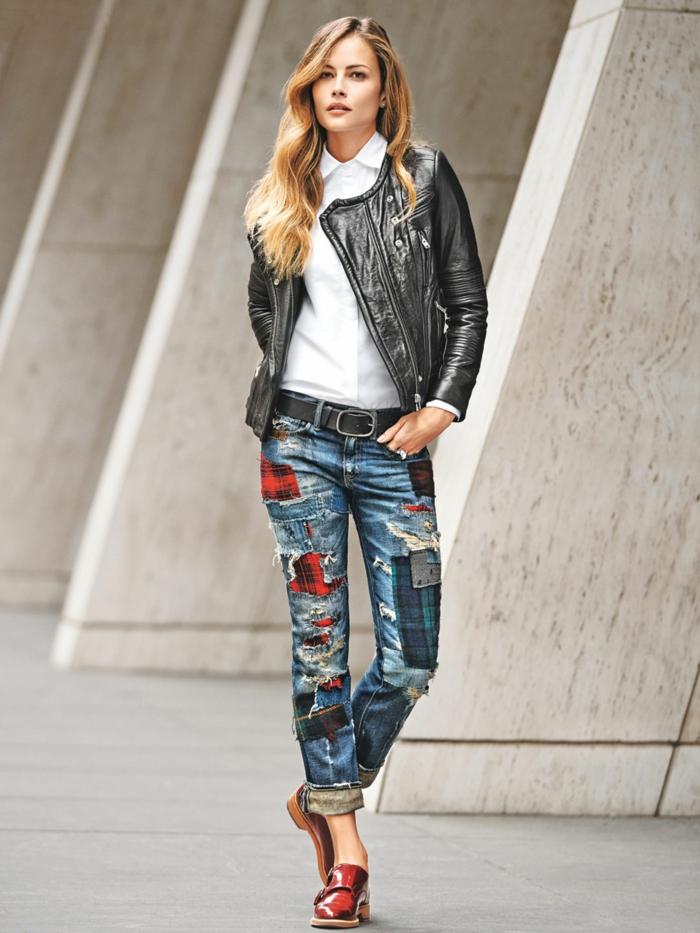 customiser un jean avec patchwork technique