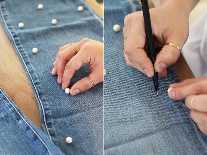customiser un jean perles