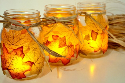 déco automne à faire soi-même bocaux avec bougies