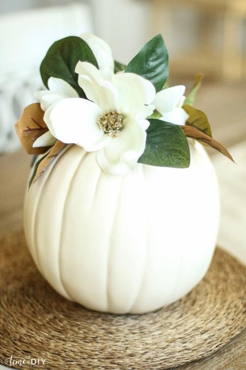 déco automne à faire soi-même citrouille blanche
