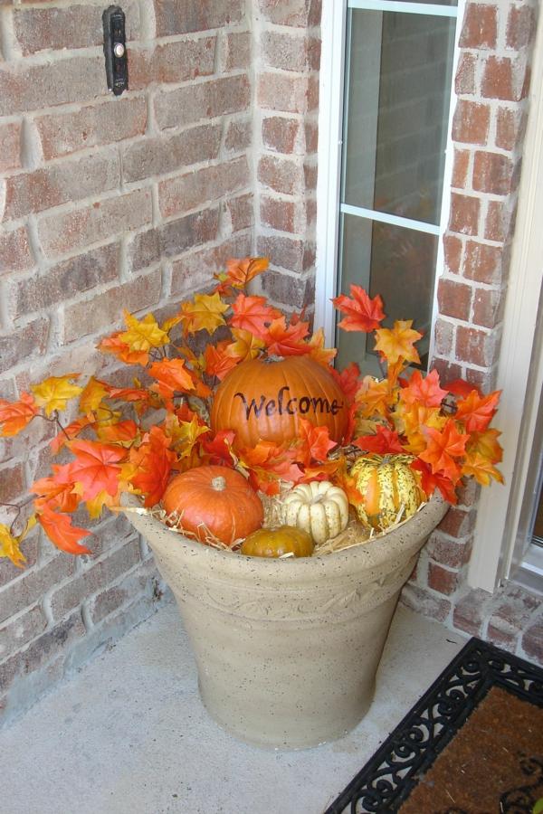 déco automne à faire soi-même citrouille feuilles d'automne