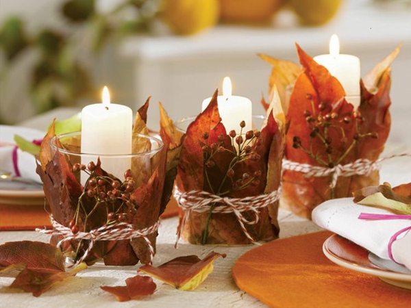 déco automne à faire soi-même déco de table bougies