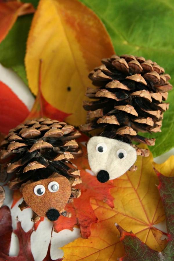déco automne à faire soi-même hérisson pomme de pin