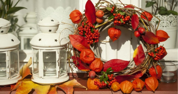déco automne à faire soi-même idée de couronne fruits et feuilles