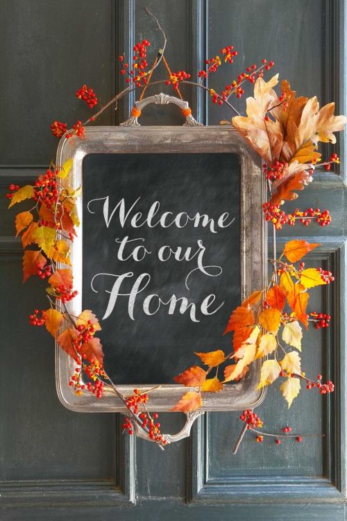 déco automne à faire soi-même porte décorée
