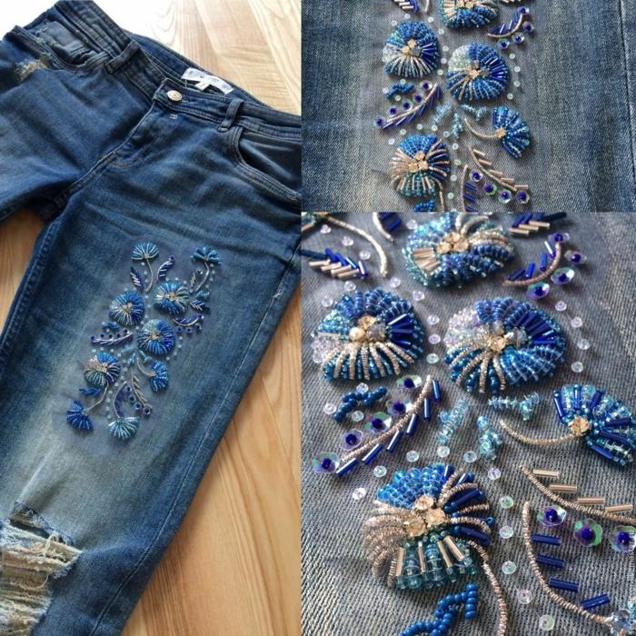 déco avec des perles idée customiser un jean