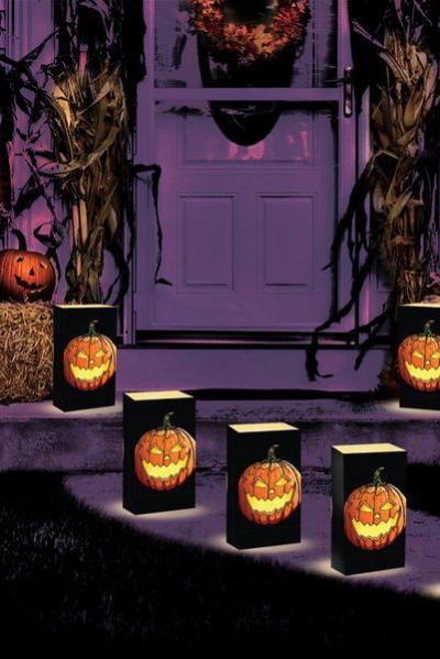 déco extérieure Halloween couronne de feuilles mortes et d'épis de maïs