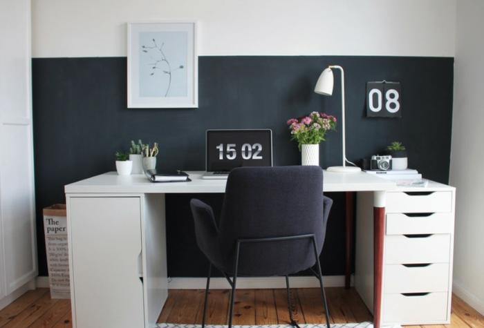 déco murale coin bureau tableau magnétique noir