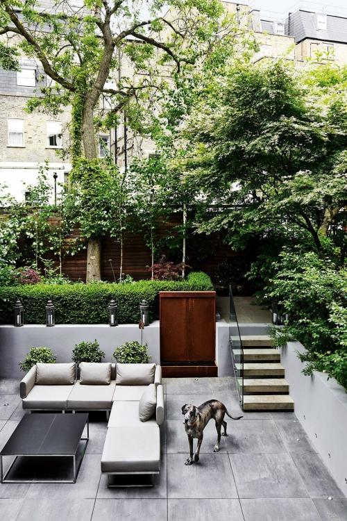déco patio deux sections du jardin