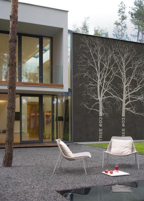déco pour mur extérieur mur peint en gris