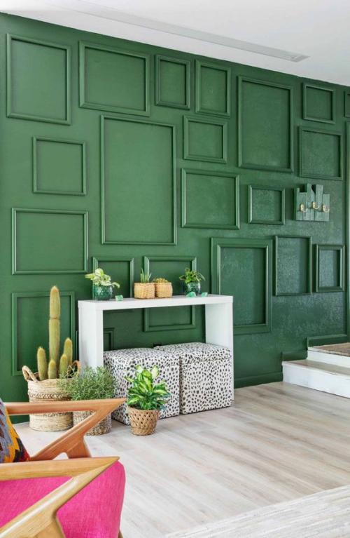 déco pour mur extérieur une terrasse toute verte