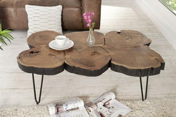 déco salon table basse tronc d'arbre