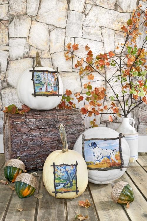 décoration citrouille grand tronc d' arbre