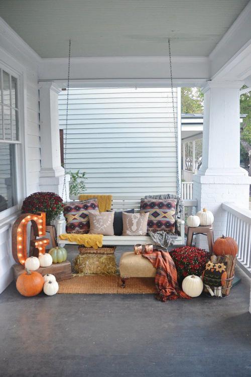 décoration citrouille terrasse aménagée automne