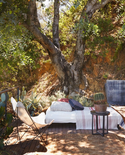 décoration extérieure coin-détente sous un vieil arbre