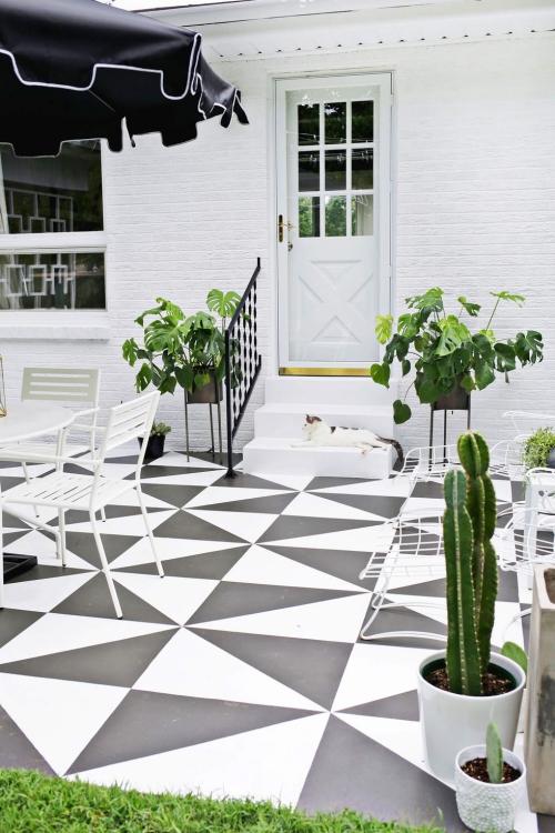 décoration jardinière extérieure jolie terrasse au carrelage
