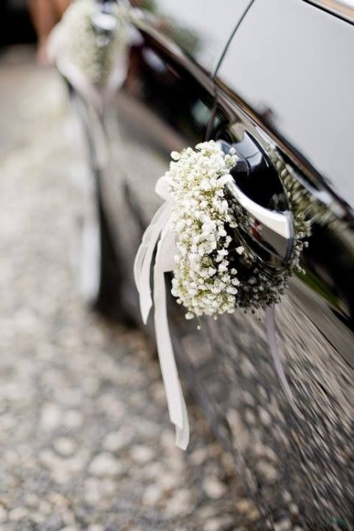 décoration voiture mariage poignées décorées