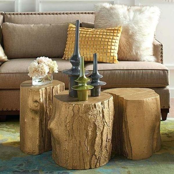 décorer le salon table basse tronc d'arbre
