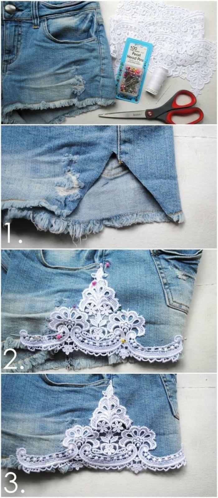 dentelle blanche pour customiser un jean