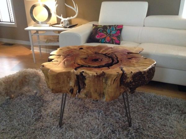 design intérieur table basse tronc d'arbre