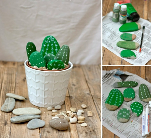diy cactus artificiel bricolage avec des galets