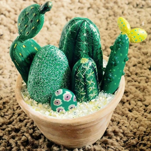 diy cactus bricolage avec des galets