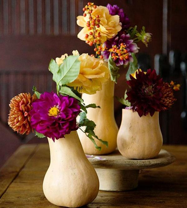 diy déco automne à faire soi-même vases à partir de citrouilles