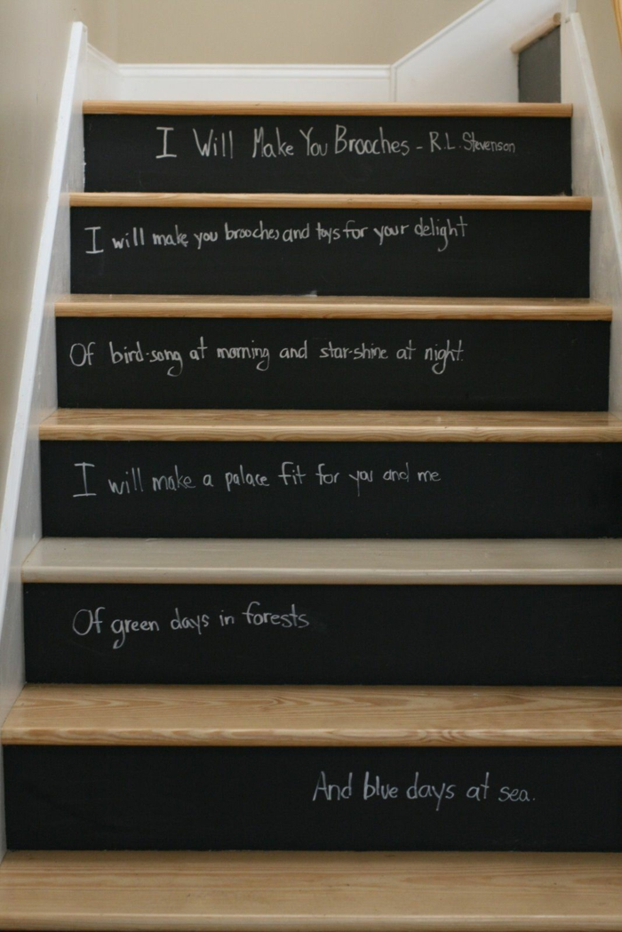 diy déco escalier tableau magnétique noir