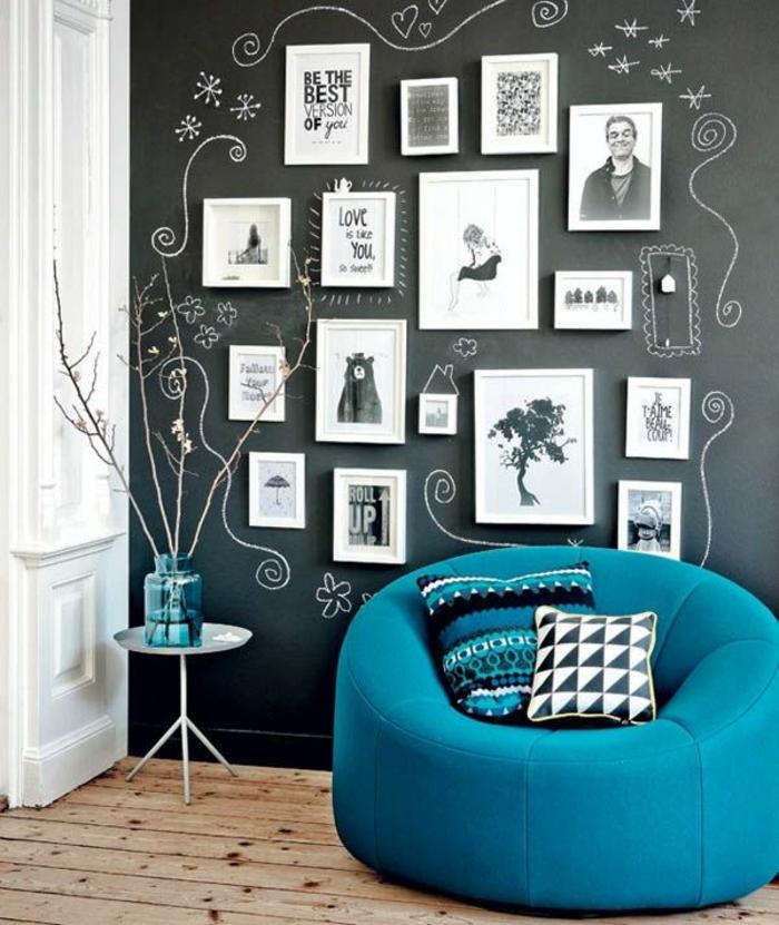 diy déco murale salon tableau magnétique noir