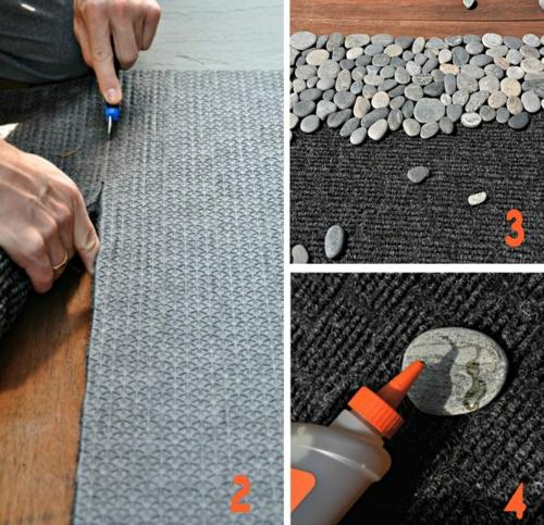 diy tapis design bricolage avec des galets