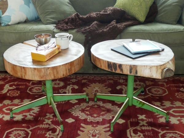duo table basse tronc d'arbre salon