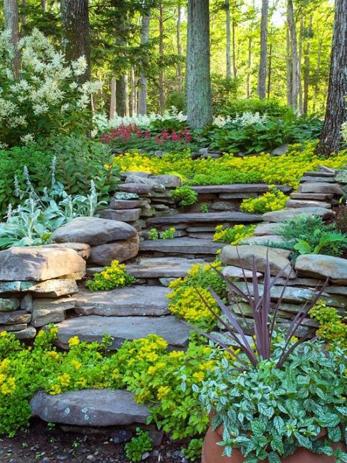 Exemple d\'aménagement de jardin en pente ou en rocaille
