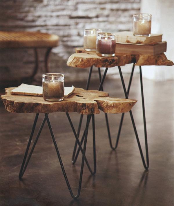 fabriquer une table basse tronc d'arbre