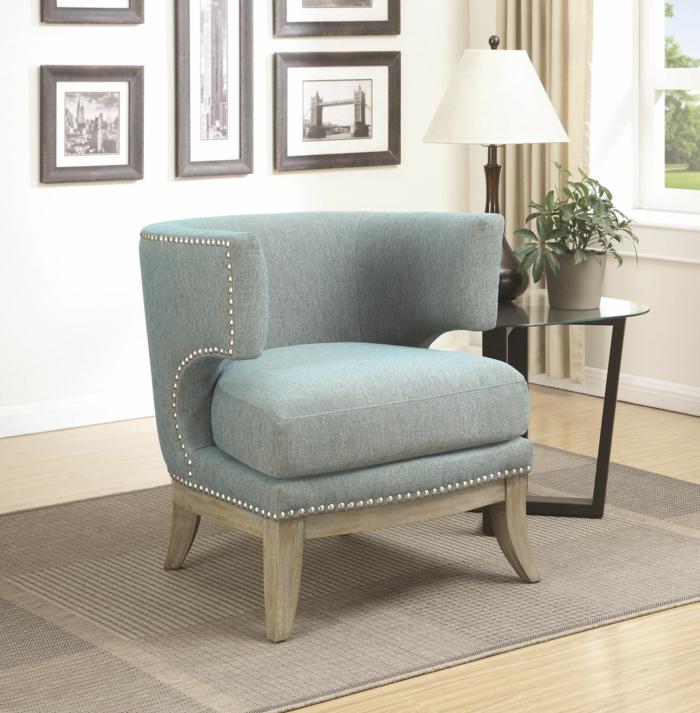 fauteuil tonneau capitonné couleur gris clair
